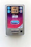 Wall mounted Durex condom 24 hour contraceptive machine, Caceres, Extremadura, Spain