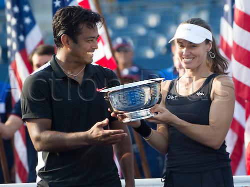 11.09.2015. Flushing Meadows, New York, USA. Leander Paes of India, and Martina Hingus of Switzerland win the mixed doubles championship at the US Open, played at the Billie Jean King Tennis Center, Flushing Meadow NY.