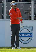 16.10.2014. The London Golf Club, Ash, England. The Volvo World Match Play Golf Championship.  Day 2 group stage matches.  Victor Dubuisson [FRA] on the first tee.