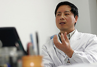 Army doctor and cosmetics surgeon Fang Hongjian shown here at his office in Nanjing, China. Doctor Fang will likely to operate on China's first case of face transplant, there has been only one previous case of facial transplant in the world performed by French docotrs...PHOTO BY SHEN / SINOPIX.