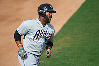 Akron RubberDucks designated hitter Nellie Rodriguez (25) running the bases during the second game of a doubleheader against the Bowie Baysox on June 5, 2016 at Prince George's Stadium in Bowie, Maryland.  Bowie defeated Akron 12-7.  (Mike Janes/Four Seam Images)