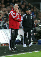 L-R Swansea manager Alan Curtis and West Bromwich Albion manager Tony Pulis during the Barclays Premier League match between Swansea City and West Bromwich Albion played at the Liberty Stadium, Swansea on December 26 2015
