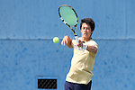 03 April 2015: Notre Dame's Nicolas Montoya. The Duke University Blue Devils hosted the University of Notre Dame Fighting Irish at Ambler Stadium in Durham, North Carolina in a 2014-15 NCAA Division I Men's Tennis match. Duke won the match 5-2.