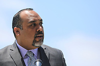 May 3 2019. Carlsbad, CA. | David Trujillo of ACLU of San Diego & Imperial Counties, talks at Community Call to Action Led by Community Leaders and Local Elected Officials in Response to Poway Shooting held at Alga Norte Community Park in Carlsbad. | Photos by Jamie Scott Lytle. Copyright.
