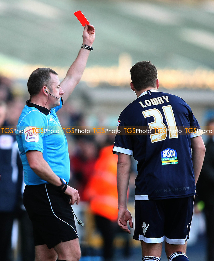 Shane Lowry of Millwall  is shown the red card- Millwall vs Birmingham City - nPower Championship Football at the New Den, London - 14/01/12 - MANDATORY CREDIT: George Phillipou/TGSPHOTO - Self billing applies where appropriate - 0845 094 6026 - contact@tgsphoto.co.uk - NO UNPAID USE.