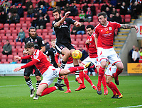 Lincoln City's Ollie Palmer gets between Crewe Alexandra's Conor Grant and Michael Raynes<br /> <br /> Photographer Andrew Vaughan/CameraSport<br /> <br /> The EFL Sky Bet League Two - Crewe Alexandra v Lincoln City - Saturday 11th November 2017 - Alexandra Stadium - Crewe<br /> <br /> World Copyright &copy; 2017 CameraSport. All rights reserved. 43 Linden Ave. Countesthorpe. Leicester. England. LE8 5PG - Tel: +44 (0) 116 277 4147 - admin@camerasport.com - www.camerasport.com