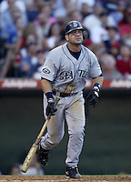 Edgar Martinez of the Seattle Mariners bats during a 2002 MLB season game against the Los Angeles Angels at Angel Stadium, in Los Angeles, California. (Larry Goren/Four Seam Images)