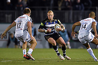 Tom Homer of Bath Rugby in possession. West Country Challenge Cup match, between Bath Rugby and Exeter Chiefs on October 10, 2015 at the Recreation Ground in Bath, England. Photo by: Patrick Khachfe / Onside Images