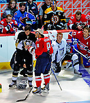 24 January 2009: Washington Capitals left wing forward Alex Ovechkin (8) gets some help from Pittsburgh Penguins' Evgeni Malkin in the NHL Fan Fav Breakaway Challenge, and winning with a 42.8% Fan Vote in the NHL SuperSkills Competition, part of the All-Star Weekend at the Bell Centre in Montreal, Quebec, Canada. ***** Editorial Sales Only ***** Mandatory Photo Credit: Ed Wolfstein Photo