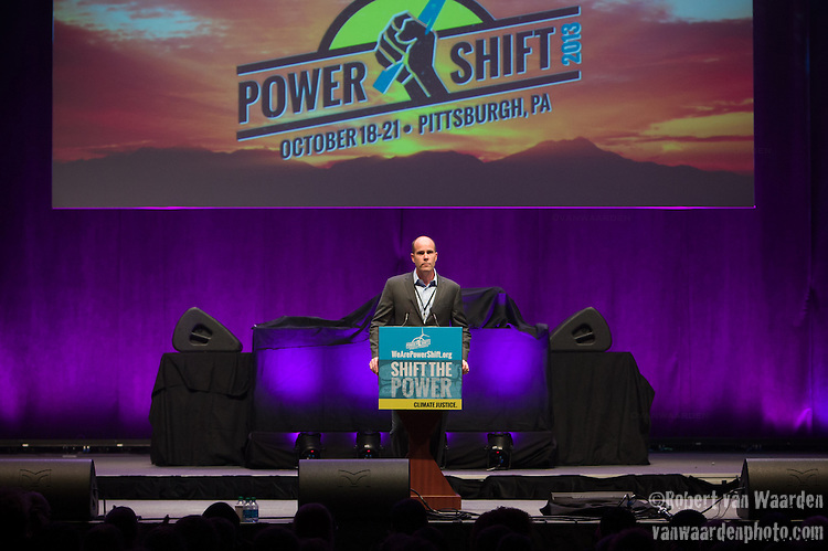 Michael Brune, Executive Director of the Sierra Club speaks at Powershift. Over six thousand young people from all over the country are converging in Pittsburgh, PA for Power Shift 2013, a massive training dedicated to bringing about a safe planet and a just future for all people. (Photo by: Robert van Waarden)