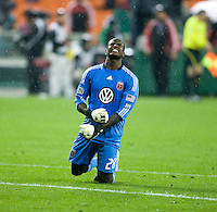 Bill Hamid (28) of D.C. United reacts at the end of the game at RFK Stadium in Washington, DC.  D.C. United tied the Colorado Rapids, 1-1.