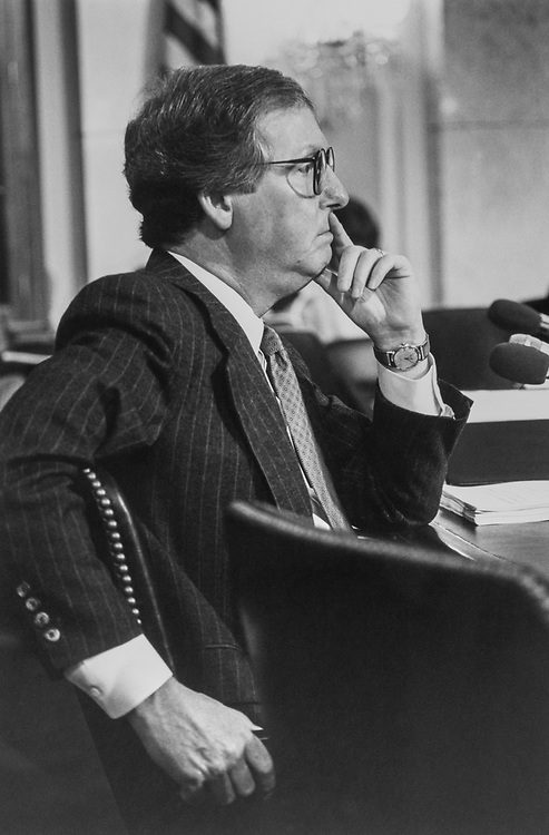 Sen. Mitch McConnell, R-Ky., listening to Senators testifying on CFR on March 3, 1993. (Photo by Maureen Keating/CQ Roll Call via Getty Images)