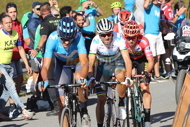 World Champion Alejandro Valverde (ESP) and race leader Red Jersey Primoz Roglic work together having caught Marc Soler (ESP) Movistar Team from the breakaway on the final climb during Stage 15 of La Vuelta 2019  running 154.4km from Tineo to Santuario del Acebo, Spain. 8th September 2019.<br /> Picture: Luis Angel Gomez/Photogomezsport | Cyclefile<br /> <br /> All photos usage must carry mandatory copyright credit (© Cyclefile | Luis Angel Gomez/Photogomezsport)