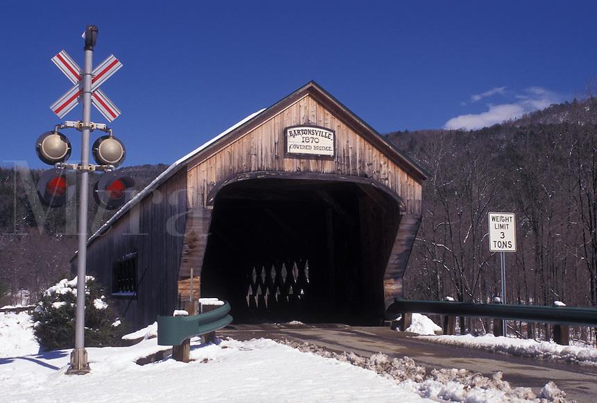 covered bridge, Vermont, VT, Bartonsville Covered Bridge ca. 1870 in Bartonsville in the snow in winter.