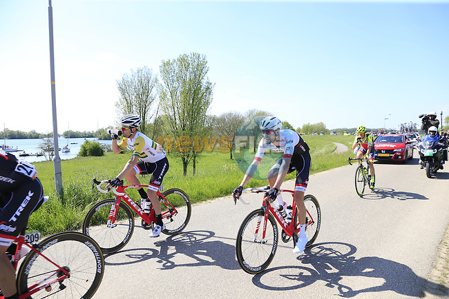 The peloton, including Ryder Hesjedal (CAN) Trek-Segafredo atop a dike during Stage 2 of the 2016 Giro d'Italia running 190km from Arnhem to Nijmegen, The Nethrerlands. 7th May 2016.<br />