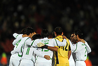 Iraq huddle together before kick-off. Iraq and New Zealand tied 0-0 during the FIFA Confederations Cup at Ellis Park Stadium in Johannesburg, South Africa on June 20, 2009..