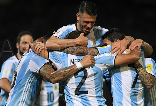30.03.2016. Cordoba, Argentina.  Argentinas players celebrate after scoring during the qualifying match for 2018 Russia World Cup against Bolivia at Mario Alberto Kempes Stadium in Cordoba, Argentina, on March 29, 2016. Argentina won 2-0.