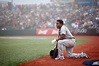 Tri-City ValleyCats Luis Santana (7) waits for a fog delay during a NY-Penn League game against the Brooklyn Cyclones on August 17, 2019 at MCU Park in Brooklyn, New York.  The game was postponed due to inclement weather, Brooklyn defeated Tri-City 2-1 in the continuation of the game on August 18th.  (Mike Janes/Four Seam Images)