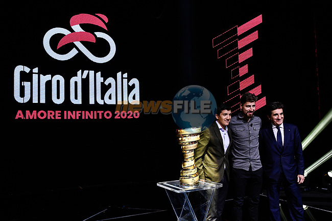 Richard Carapaz, Peter Sagan and Urbano Cairo on stage at the route presentation for the 103rd edition of the Giro d'Italia 2020 held in the RAI Studios, Milan, Italy. <br /> 24th October 2019.<br /> Picture: LaPresse/Marco Alpozzi | Cyclefile<br /> <br /> All photos usage must carry mandatory copyright credit (© Cyclefile | LaPresse/Marco Alpozzi)