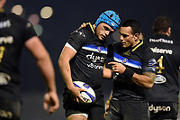 Zach Mercer and Kahn Fotuali'i of Bath Rugby. European Rugby Champions Cup match, between Benetton Rugby and Bath Rugby on January 20, 2018 at the Municipal Stadium of Monigo in Treviso, Italy. Photo by: Patrick Khachfe / Onside Images
