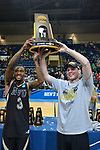 SALEM, VA - MARCH 17: Nebraska Wesleyan Prairie Wolves forward Deion Wells-Ross (3) and Nebraska Wesleyan Prairie Wolves forward Cooper Cook (30) hoist up the Championship Trophy after winning the Division III Men's Basketball Championship held at the Salem Civic Center on March 17, 2018 in Salem, Virginia. Nebraska Wesleyen defeated Wisconsin-Oshkosh 78-72 for the national title. (Photo by Andres Alonso/NCAA Photos/NCAA Photos via Getty Images)