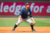 Wilmington Blue Rocks third baseman Cheslor Cuthbert (32) on defense against the Winston-Salem Dash at BB&T Ballpark on April 21, 2013 in Winston-Salem, North Carolina.  The Blue Rocks defeated the Dash 5-3.  (Brian Westerholt/Four Seam Images)