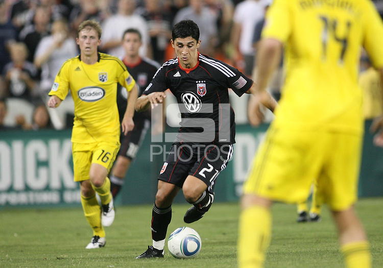 Pablo Hernandez #21 of D.C. United moves towards Chad Marshall #14 of the Columbus Crew during a US Open Cup semi final match at RFK Stadium on September 1 2010, in Washington DC. Columbus won 2-1 aet.