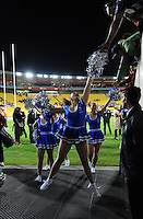 Cheerleaders farewell fans after the NRL Premiership round seven match between the NZ Warriors and Canterbury Bulldogs at Westpac Stadium, Wellington, New Zealand on Saturday, 16 April 2016. Photo: Dave Lintott / lintottphoto.co.nz