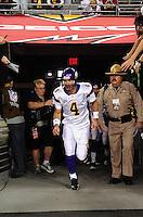Dec 6, 2009; Glendale, AZ, USA; Minnesota Vikings quarterback (4) Brett Favre enters the game against the Arizona Cardinals at University of Phoenix Stadium. The Cardinals defeated the Vikings 30-17. Mandatory Credit: Mark J. Rebilas-