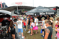 Jun. 29, 2012; Joliet, IL, USA: NHRA fans in the Toyota display during qualifying for the Route 66 Nationals at Route 66 Raceway. Mandatory Credit: Mark J. Rebilas-