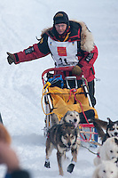 Musher # 21 Mitch Seavey at the Restart of the 2009 Iditarod in Willow Alaska