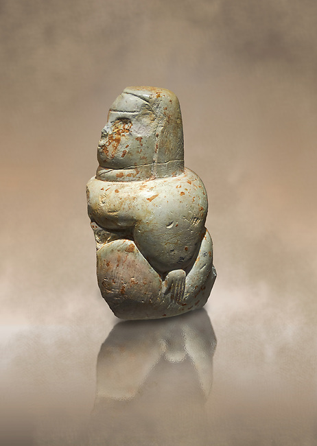 Middle Neolithic kaolinite statue of a goddess from the site of Su Anzu in Narbolia, Sardinia. Museo archeologico nazionale, Cagliari, Italy. (National Archaeological Museum) - Art Background