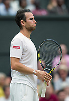 Adrian Mannarino of France in action against Novak Djokovic (2) of Serbia in their Men's Singles Fourth Round Match today<br /> <br /> Photographer Ashley Western/CameraSport<br /> <br /> Wimbledon Lawn Tennis Championships - Day 8 - Tuesday 11th July 2017 -  All England Lawn Tennis and Croquet Club - Wimbledon - London - England<br /> <br /> World Copyright &not;&copy; 2017 CameraSport. All rights reserved. 43 Linden Ave. Countesthorpe. Leicester. England. LE8 5PG - Tel: +44 (0) 116 277 4147 - admin@camerasport.com - www.camerasport.com