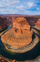 Page Arizona Horseshoe Bend at Glen Canyon National Recreation Area from above straight down dangerous peak birdseye curve Colorado River