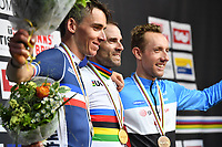 Picture by Simon Wilkinson/SWpix.com - 30/09/2018 - Cycling 2018 Road Cycling World Championships Innsbruck-Tirol, Austria - Men's Elite Road Race Podium -Alejandro Valverde of Spain, Romain Bardet of France and Michael Woods of Canada.