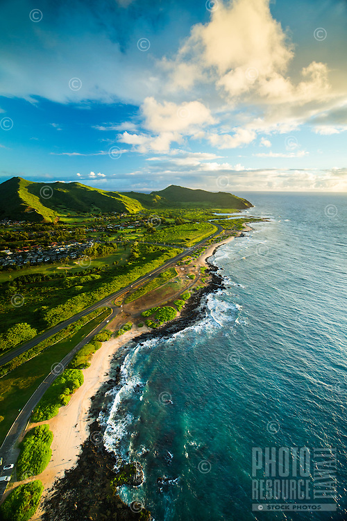 A morning aerial view of Sandy Beach, with Makapu'u in the distance, East O'ahu.
