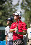Tom Hoge watches his dirve on the 2nd hole during the Barracuda Championship PGA golf tournament at Montrêux Golf and Country Club in Reno, Nevada on Saturday, July 27, 2019.