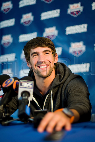13 May 2010: U.S. Swimmer Michael Phelps in a news conference during the USA Swimming Grand Prix Charlotte Ultra Swim at Mecklenburg Aquatic Center in Charlotte, North Carolina on May 13, 2010...