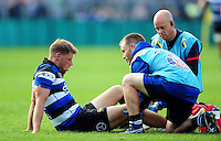 Rhys Priestland of Bath Rugby is treated for an injury. Aviva Premiership match, between Bath Rugby and Newcastle Falcons on September 10, 2016 at the Recreation Ground in Bath, England. Photo by: Patrick Khachfe / Onside Images