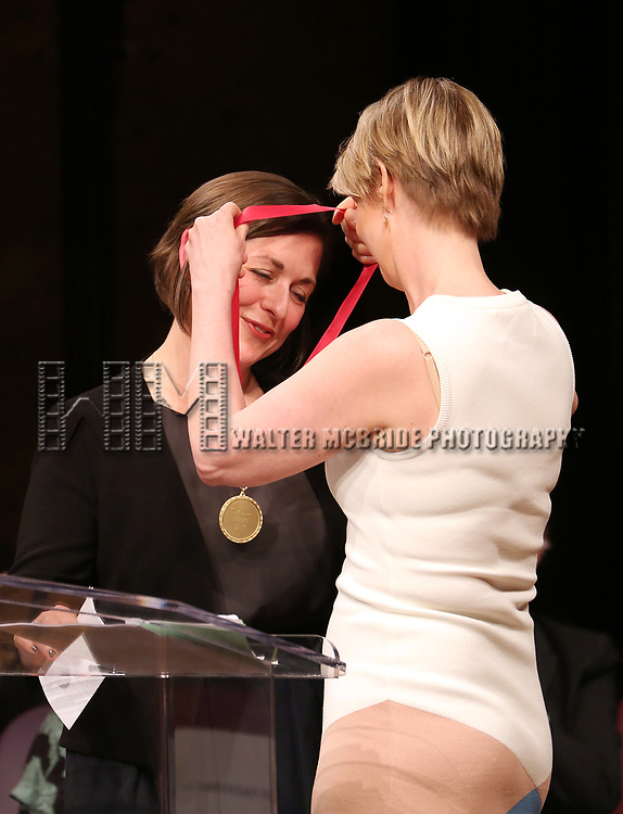 Mandy Greenfield and Cynthia Nixon on stage at the The Lilly Awards  at Playwrights Horizons on May 22, 2017 in New York City.