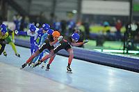 SCHAATSEN: GRONINGEN: Sportcentrum Kardinge, 18-01-2015, KPN NK Mass Start, Arjan Stroetinga (#1), Jorrit Bergsma (#5), ©foto Martin de Jong