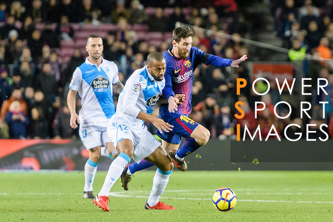 Sidnei da Silva Junior of RC Deportivo La Coruna (L) fights for the ball with Lionel Messi of FC Barcelona (R) during the La Liga 2017-18 match between FC Barcelona and Deportivo La Coruna at Camp Nou Stadium on 17 December 2017 in Barcelona, Spain. Photo by Vicens Gimenez / Power Sport Images