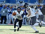 BROOKINGS, SD - DECEMBER 9: Quarterback Trevor Knight #18 from the University of New Hampshire pitches the ball to teammate Brandon Gallagher #29 against South Dakota State University during their FCS quarterfinal game Saturday afternoon at Dana J. Dykhouse Stadium in Brookings, SD. (Photo by Dave Eggen/Inertia)
