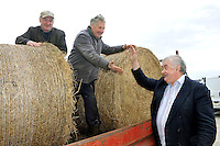 "27-3-2013: The last two bails?. Kerry Farmers Donal McCarthy, Kilcummin, left and Oliver Fleming, Gneeveguilla haggle with Richard Hartnett, Mart Manager over the last two bails of hay for sale at Castleisland Mart in County Kerry on Wednesday..Picture by Don MacMonagle.Story by Majella O""Sullivan"