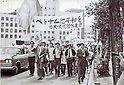 """April 24, 1965 - Beheiren activist group first demonstration. Beheiren (""""Betonamu ni Heiwa o Shimin Rengo"""" - Citizen's League for Peace in Vietnam) was a Japanese activist group that existed from 1965 to 1974. As a coalition of a few hundred anti-war groups it protested Japanese assistance to the United States during the Vietnam War. (Photo by Kingendai/AFLO)"""