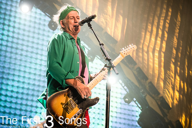 Keith Richards of The Rolling Stones performs at TD Garden in Boston, Massachusetts.