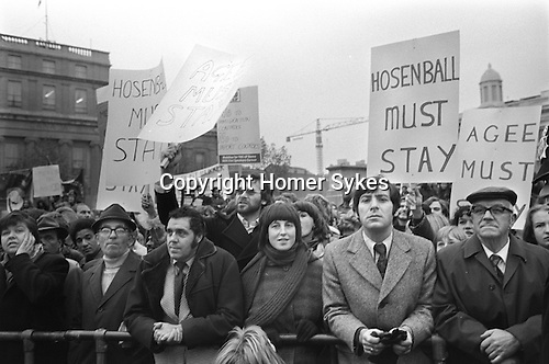 Mark Hosenball and Philip Agee Must Stay demonstration Trafalgar Square London 1976. ..