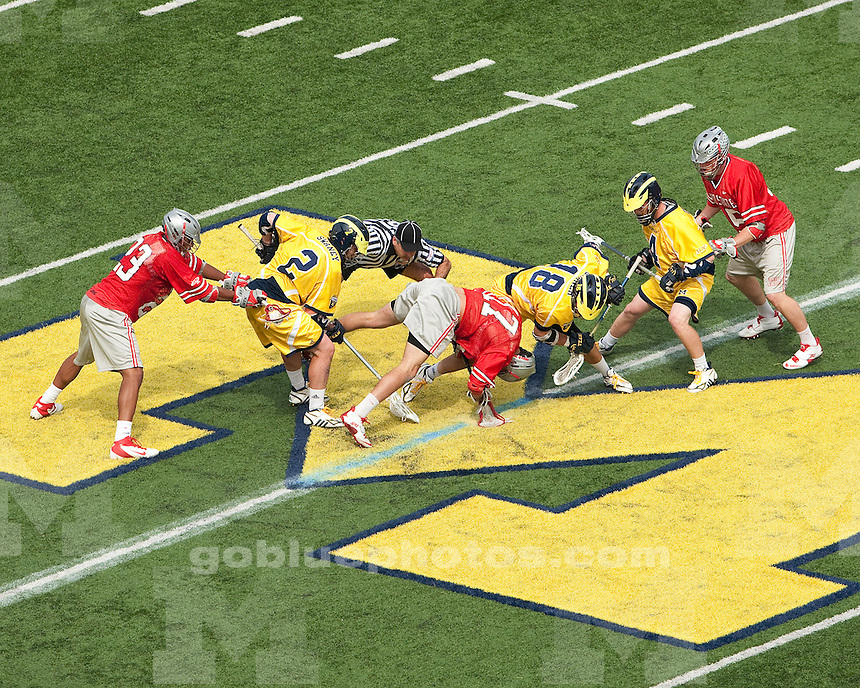 """The University of Michigan men's lacrosse team lost to Ohio State, 9-12, in the """"Battle at the Big House"""" at Michigan Stadium in Ann Arbor, Mich., on April 14, 2012."""