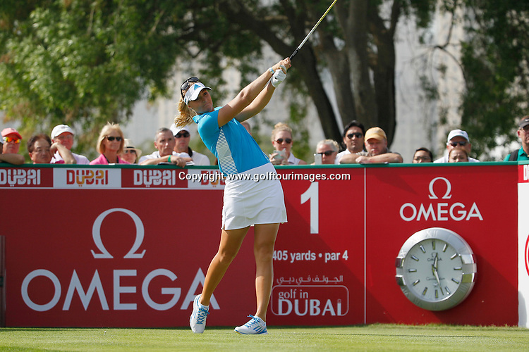 Anna NORDQVIST (SWE) during round four of the 2014 Omega Dubai Ladies Masters being played over the Majlis Course, Emirates Golf Club, Dubai from 10th to 13th December 2014: Picture Stuart Adams, www.golftourimages.com: 13-Dec-14