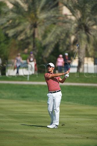 19.01.2013 Abu Dhabi, United Arab Emirates. Mateo Manassero in action during the European Tour HSBC Golf championship  third round from the Abu Dhabi Golf Club.